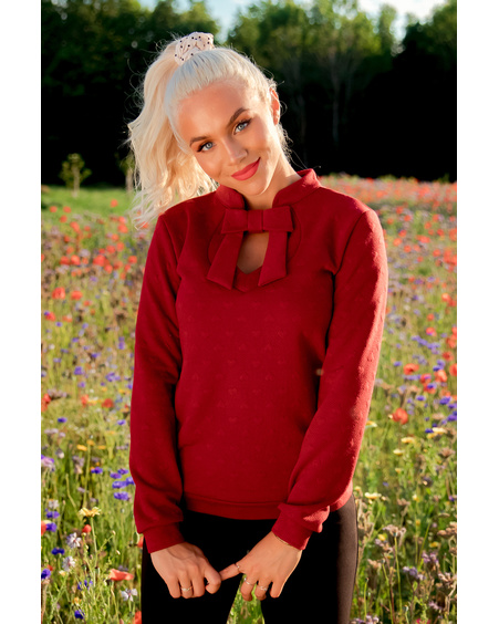 DOLLABLE HEARTED BORDEAUX SWEATER