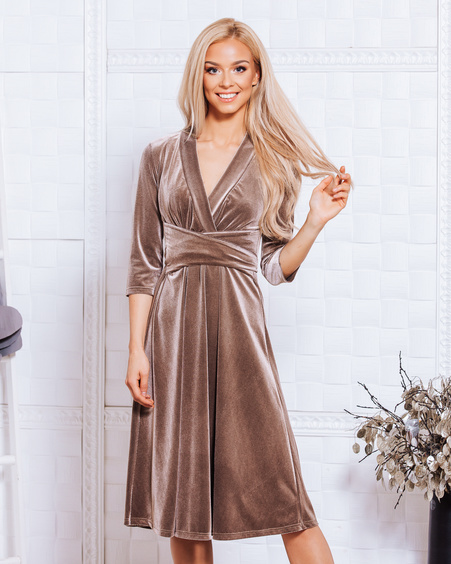 BEIGE ELEGANT VELVET MIDI DRESS