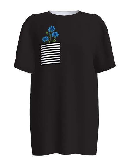 CORN FLOWERS BLACK PRINT T-SHIRT