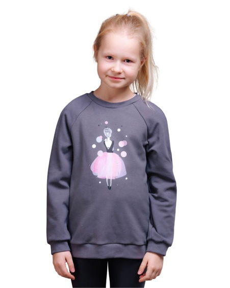 PINK GIRL  KIDS SWEATSHIRT GREY