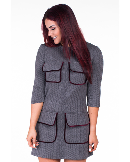 GREY KNIT 4-POCKET DRESS