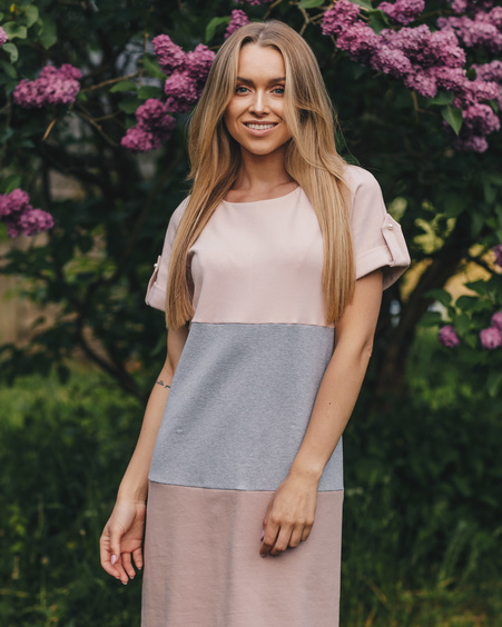 TRIO PEARL DRESS IN PINK GREY