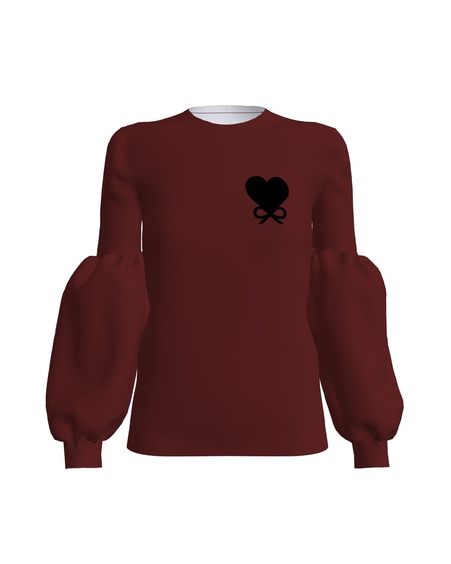 HEART BOW ALICE SWEATSHIRT BORDEUX