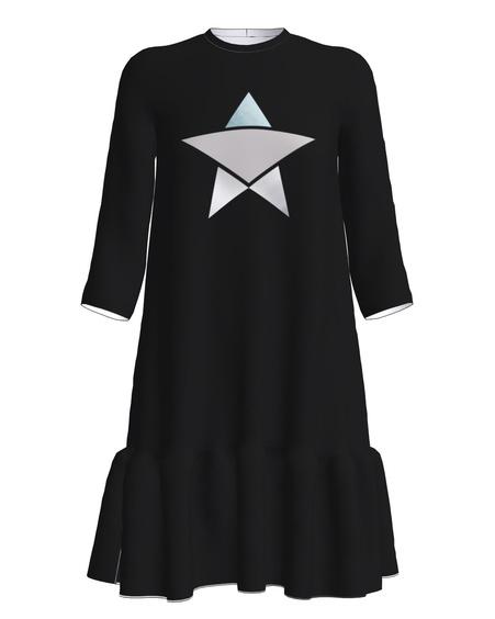 SILVER STAR FRILL DRESS BLACK