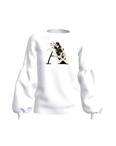 LETTER A FLORAL ALICE SWEATSHIRT WHITE