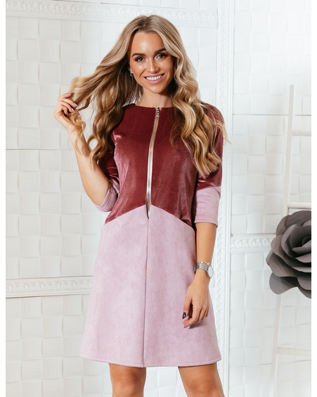 PINK ZIPPER VELVET DRESS