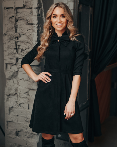 BLACK BOW SUEDE DRESS
