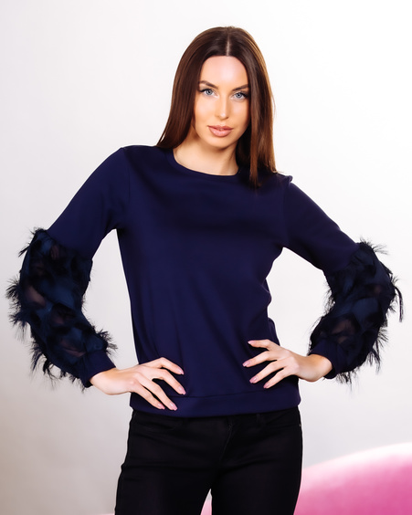ALICE FRINGE SLEEVES SWEATSHIRT NAVY BLUE