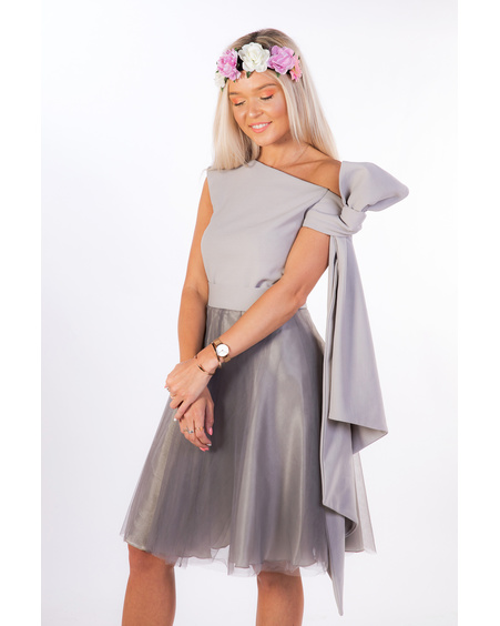 SET:GREY MESH SKIRT+BOW TOP