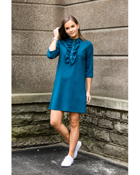FRILL LINE DRESS TURQUOISE
