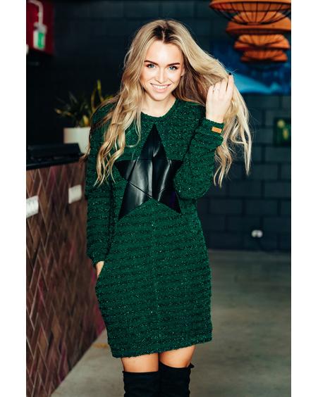 GREEN SHINY KNIT STAR DRESS