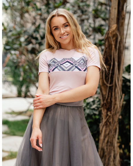 COLORFUL ETHNIC T-SHIRT PASTEL PINK