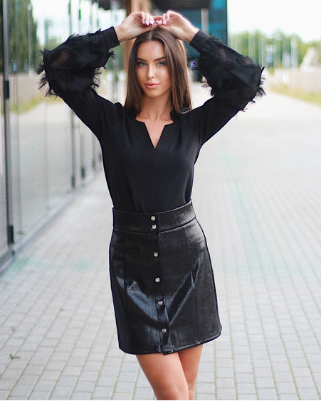 BLACK TD POPPER LEATHER SKIRT