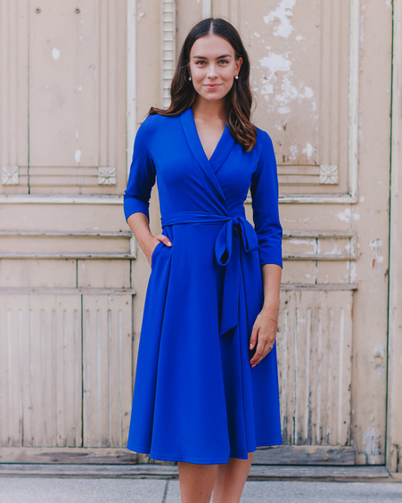 ELECTRIC BLUE MOON MIDI DRESS