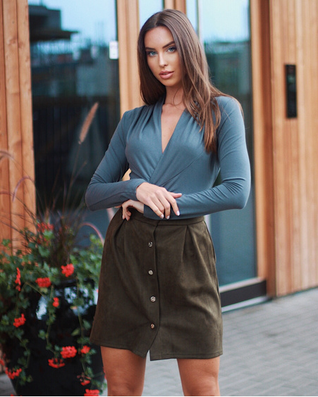 TULIP POPPER SUEDE SKIRT GREEN