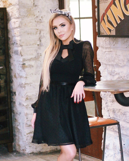 DOLLABLE BLACK CHIFFON DRESS