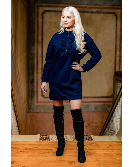 NAVY FRILL RIVETED OVERSIZE DRESS