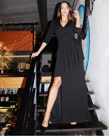 ASYMMETRIC BLACK MAXI DRESS