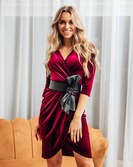 WRAP DRESS VELVET BORDEAUX