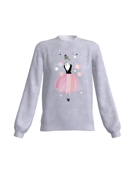 GREY PINK GIRL PRINT SWEATER