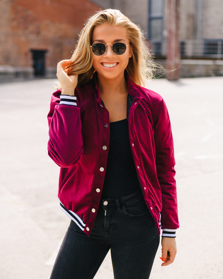 PURPLE STRIPE VELVET BOMBER