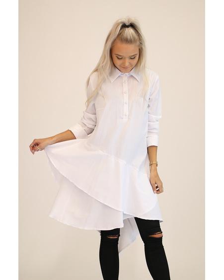WHITE DIAGONAL FRILL SHIRT DRESS
