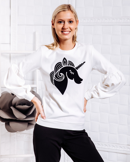 ALICE UNICORN PRINT SWEATER WHITE
