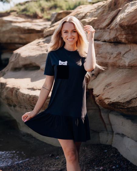 BLACK KITTY PEEK A BOO PRINT DRESS