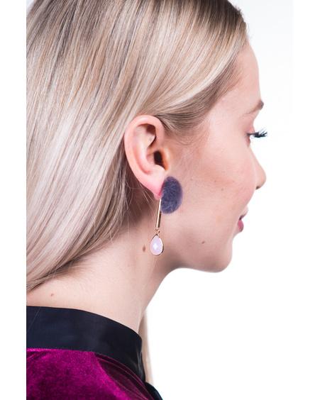 GREY FUR PINK DETAIL EARRINGS