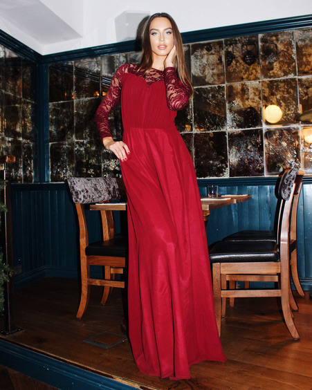 WIDE LEG JUMPSUIT BORDEAUX LACE