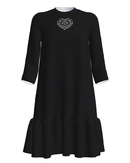 White Heart Frill Dress Black