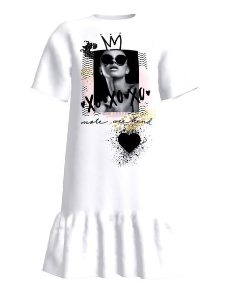 XO XO XO FRILL DRESS WHITE