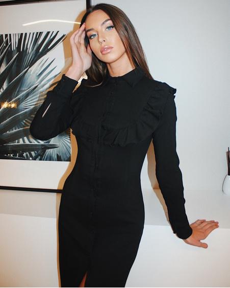 BOHO FRILL DENIM DRESS BLACK