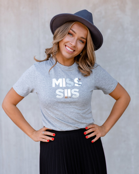 MISS SIIS SPARKLE SILVER GREY PRINT T-SHIRT