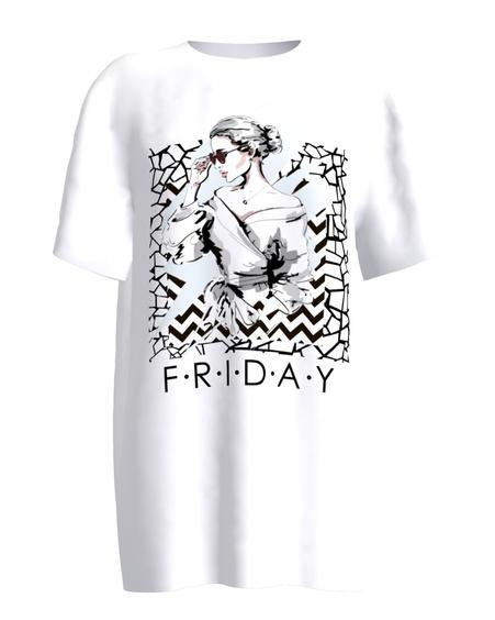 FRIDAY white women's t-shirt