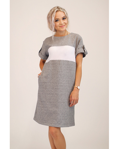CUSTOM SLOGAN - GREY PEARL DRESS
