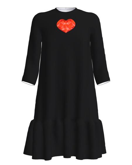 Red Heart Frill Dress Black