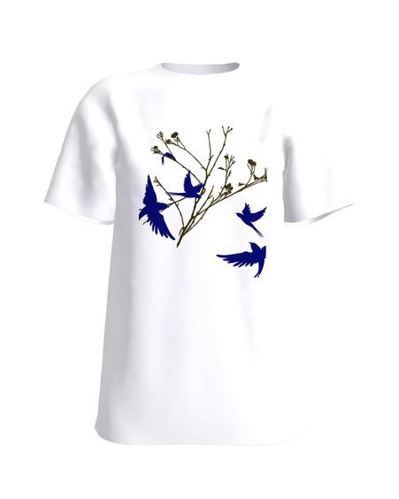 Bird on a branch T-Shirt white