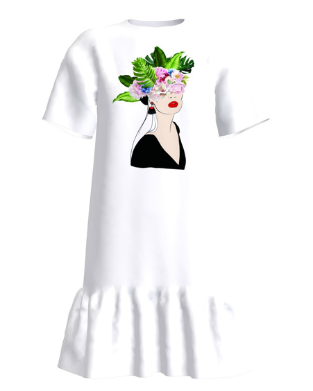 FLORAL HEAD FRILL DRESS WHITE