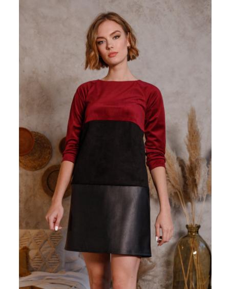 TRIO BLOCKS VELVET DRESS BORDEAUX BLACK
