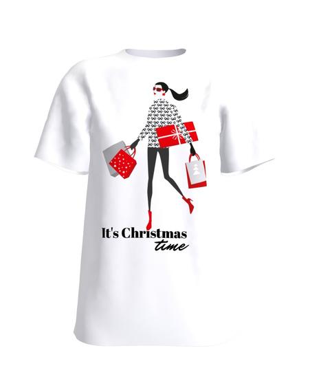IT'S CHRISTMAS TIME WHITE PRINT T SHIRT
