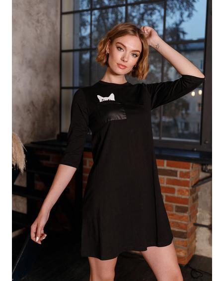 KITTY IN POCKET DRESS BLACK