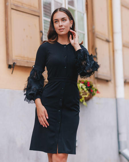 BLACK FRINGE SLEEVE BOYFRIEND DRESS