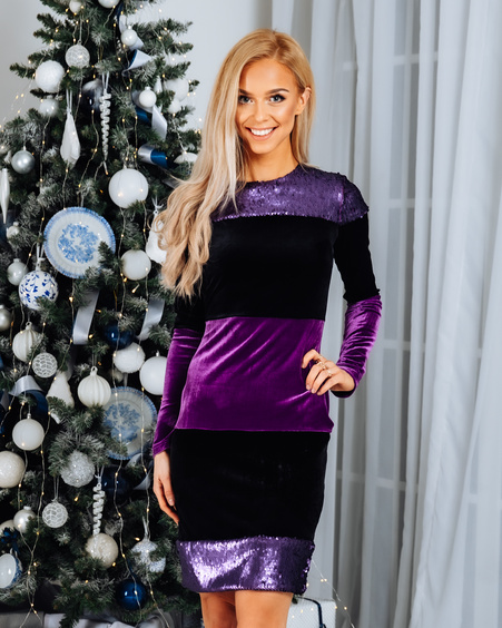BLOCKS SEQUIN VELVET DRESS PURPLE