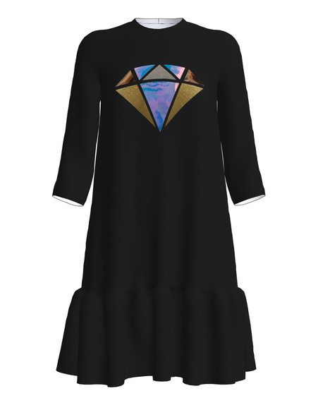 SHINY DIAMOND FRILL DRESS BLACK