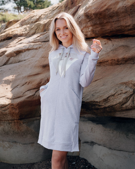 GREY SILVER DIAMOND HOODED DRESS