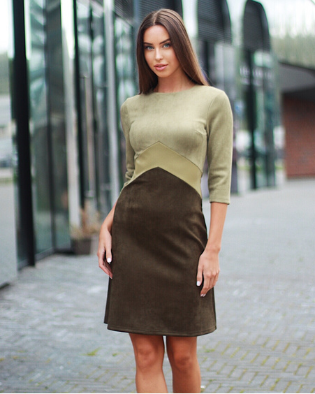 TRIO OLIVE SUEDE DRESS