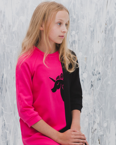 UNICORN TWAIN KIDS SWEATER DRESS FUCHSIA
