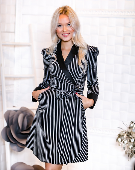 BLACK AND GREY STRIPE MOON DRESS