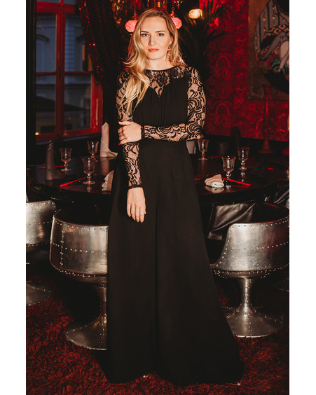 BLACK LACE WIDE LEG JUMPSUIT